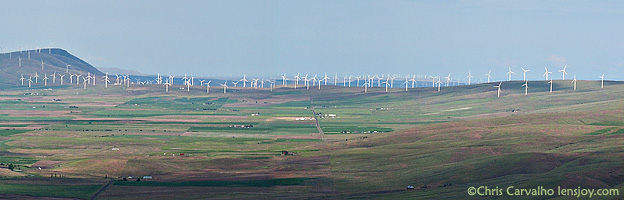 Stacker Butte Panorama View Wind Turbine Impact -- � Chris Carvalho/Lensjoy.com
